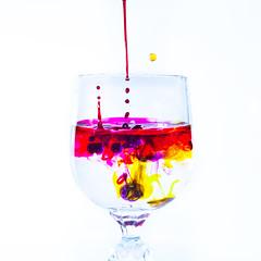 Macro-Monday-Colours-1 (Roz B) Tags: macromonday multicolor foodcolouring food color water pink yellow purple drops splash