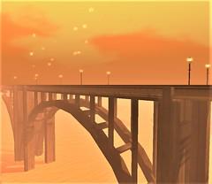 """ A bridge too far "" (maka_kagesl) Tags: landscape bridge water sea ocean river ferry building sky clouds cloud autumn orange sl second life secondlife videogame virtual game gaming trees tree"