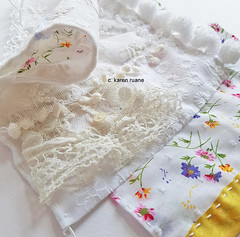 a tiny vintage cuff under a seam (contemporary embroidery) Tags: vintagecuff embroidery seam sample lace