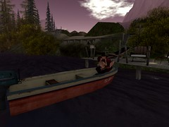 A relaxing evening with you (stephaniestclaire1) Tags: boat night trees forest water dock chairs secondlife cuddle couple together