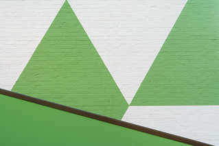 Green and white wall