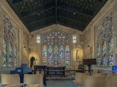 Altar and Stained Glass Windows Inside the Chantry Chapel of St. Mary the Virgin, Wakefield. Three Images Stitched in Photoshop to Create a Panorama (AngelCrutch) Tags: chapel chantrychapel wakefield england history historicbuilding religiousbuilding religion church stainedglasswindows colours colourful interior uk britain britishhistory panorama photoshop