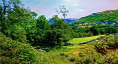 Over the hills and far away (Jan 130) Tags: jan130 lakedistrict cumbriaengland uk digitalpainting stonewalls gates coth5