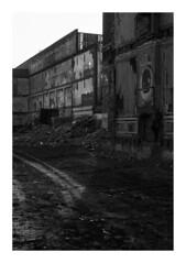 161105_00005_OM2n_city fragment 3/19 (A Is To B As B Is To C) Tags: aistobasbistoc b belgië belgium antwerpen antwerp belgiëlei olympus om2n analog film kodak tmax bw blackwhite blackandwhite monochrome construction site werf demolition light shadow city urban fabric tracks history chimney wallpaper