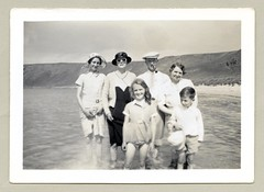 """At the Seaside (Vintage Cars & People) Tags: vintage classic black white """"blackwhite"""" sw photo foto photography bathers bathing river stream swimsuit family mother father son daughter child children childhood adolescence swimwear 1930s thirties fashion hat flatcap sunglasses shades pipe dress skirt"""