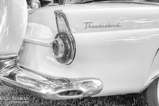 1956 Ford Thunderbird details in B&W - Granville Heritage Days Car Show