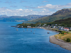 Post Card Scotland (RS400) Tags: skye bridge water wow cool amazing travel photography landscape scotland island blue sky clouds houss houses olympus boat boats sailing uk