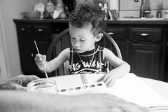 """i dream my painting, then i paint my dream"" (Amanda Emilio) Tags: nephew family blackandwhite portrait boy child cute painting house people canont6 kids children"