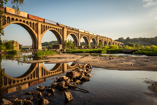 Sunrise at the train bridge