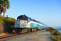 2105 on the Evening Commute (MikeArmstrong) Tags: coaster commuter train san diego railroad nctd f40ph f40phm2c coast pacific ocean del mar cliffs trees sky sunset evening summer