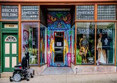 Pain & Pleasure (MTR70) Tags: streetphotography storefront color colorful neon tattoo tattooshop facade architecture art photography nikon sigma street windows window door doors