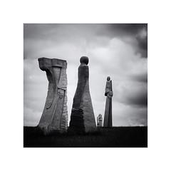 All Saints (Lindi m) Tags: brittany france valleyofsaints carnoët quénéquillec stone sky clouds sculptures caradec keo maeoc blackwhite square granite statues bretagne