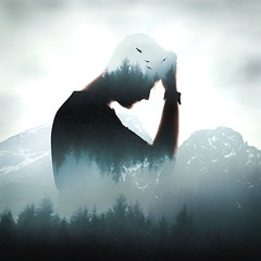 Head in the clouds (Ben Lockett) Tags: silhouette guy trees doubleexposure