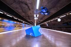 Solna Strand (Douguerreotype) Tags: station sverige blue tunnel underground urban art sweden train stockholm tbana architecture clouds city tunnelbana metro subway tube sky