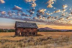Old Homestead (http://fineartamerica.com/profiles/robert-bales.ht) Tags: gemcounty haybales idaho land landscape people photo places projects states sunrisesunset sunsetorsunrise toworkon barn sunrise sunset house farm homestead ranch cattle barnwood fence butte squawbutte mountain idado emmett treasurevalley scenicbiway americaphotography valley idahophotography beautiful sensational spectacular magnificent surreal sublime magical spiritual inspiring canonshooter scenic wow stupendous superb building grass hay trees yellow blue robertbales sky railroad tracks panoramic pano