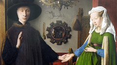 Jan Van Eyck, Mirror detail, The Arnolfini Portrait