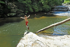 Free Form Fun (FAIRFIELDFAMILY) Tags: saluda nc north carolina south river little bradley bradly falls rainbow turtle carson jason taylor grant rock water michelle family swim swimming log tree forest father son mother fairfield winnsboro sc polk county flat climb climbing hiking walking child young boy man pretty bravard cashiers jumping jump coca cola sign antique architecture store diner