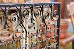 Fancy Fence (Read2me) Tags: brimfieldantiquesfair cye tcfe old antique vintage metal fence gate shape face repetition friendlychallengeswinner dof gamewinner pregamewinner