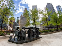 Gentlemen (Karen_Chappell) Tags: travel chicago usa illinois statue sculpture art architecture city urban downtown cityscape trees blue green artwork umbrella gentlemen buildings fisheye canonef815mmf4lfisheyeusm wideangle