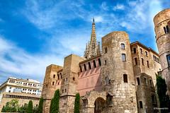 Barcelona - Muralla Romana (rossendgricasas) Tags: barcelona cat catalonia muralles historical history blue sky clouds church photo street streetphotography colorimage photoshop nikon tamron
