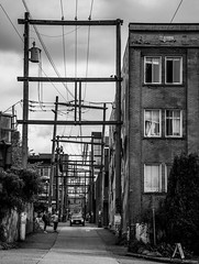 In the Alley (Katrina Wright) Tags: dsc1724 alley telegraphposts wires bw monochrome windows