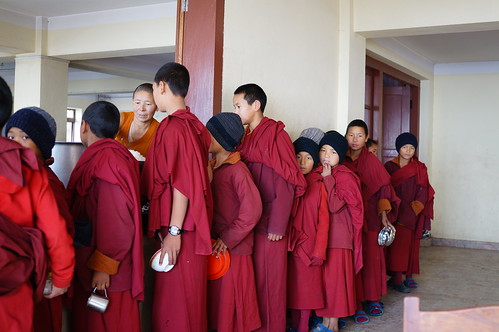 Young monk at red monastery in Kathmandu