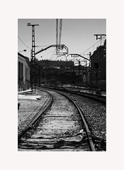 Railroad track 5 (BLANCA GOMEZ) Tags: madrid spain bw blackwhite train railroadtrack railwaytrack iron pattern lines architecture arquitectura royalpalace palacioreal trainstation building abandoned negleted neglected