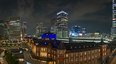 tokyo-2028-32-ps-w (pw-pix) Tags: night dark late lights colours buildings towers station trainstation railwaystation tokyostation domes windows tokyostationhotel trees roads streets taxis taxi cars vehicles people sky clouds tracks platforms train trains shinkansen hot humid viewfromjptower viewfromjptowerkitte viewingdeck lookingtowardnihombashi jptower marunouchi tokyo chiodaku tokyoto japan peterwilliams pwpix wwwpwpixstudio pwpixstudio