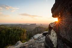 Sunset (derliebewolf) Tags: landschaft natur sunset flare sunburst sunstar mountains hiking carolafelsen sandstone saxonswitzerland saxony germany nationalpark goldenhour clouds bluesky forest backlight backcountry