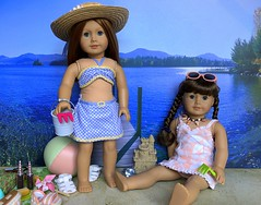 By the lake (Foxy Belle) Tags: american girl dolls molly beach summer scene sand lake 14 scale diorama doll ag 18 inch emily bennett bathing suits vintage wwii era canvas print background scrapbook paper