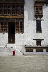 Monk Walking to the Utse (William J H Leonard) Tags: thimphu bhutan bhutanese southasia southasian summer sunny travel travelphotography travelling tashichhodzong buddhist buddhism buddhisttemple buddhistmonk buddhistmonks monk architecture asianarchitecture people portrait portraiture portraits building