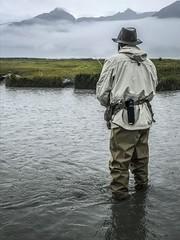 Fly Fishing in the Rain for Salmon (Airborne Guy) Tags: alaskalastfrontiernaturewildlifeoutdoor fishing flyfishing orris redingote water river salmon