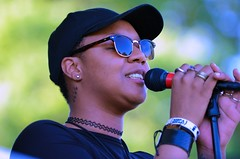CiCi Stewart -- Sounds at Sunset Summer Concert (forestforthetress) Tags: cicistewart stage concert gig festival music woman female girl singer song outdoor color omot nikon face hat glasses champaign soundsatsunset