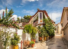 alley (Nick Frantzeskakis) Tags: house colors flowers alley street kalamata peloponnese green sky blue clouds