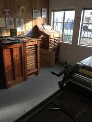 Letterpress printshop morning light (artnoose) Tags: type letterpress cabinets morning light fall autumn berkeley california bayarea vandercook windows