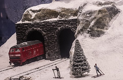 Train tunnel snow (Ahmed N Yaghi) Tags: train toy tunnel ski people tiny red tree christmas