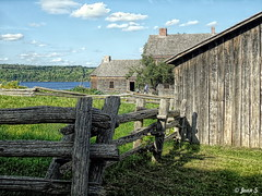 ... (Jean S..) Tags: trees wood ancient old clouds sky fence rural building house barn