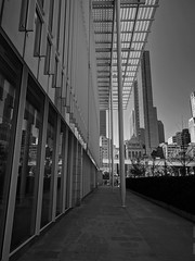 Vertical (ancientlives) Tags: chicago illinois il millenniumpark artinstitutemodernwing modernwing modernart downtown loop architecture buildings towers city cityscape skyline skyscrapers bluesky blackandwhite bw mono monochrome walking tuesday september 2018 summer