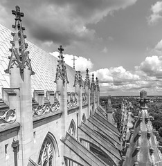 Above the Washington National Cathedral (johngoucher) Tags: approved washingtonnationalcathedral architecture cathedral washingtondc sonyimages sonyalpha alphacollective architecturalphotography church gothicarchitecture sky clouds building steeples cross blackandwhite monochromatic bnw bw wideangle wideanglelens rokinon12mm roof peaks flyingbuttresses buttresses