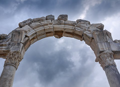 Precarious arch (Adaptabilly) Tags: ancient lumixg1 ephesus travel sky column arch architecture roman efes ephesos turkey clouds izmir tr greek asia