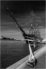 Amerigo Vespucci (T.Seifer : )) Tags: blackandwhite blackwhite bw d800 elbe monochrome sailing ship fx hamburg harbour lines marina outdoors travel outside tourism quayside whiteandblack whiteblack port