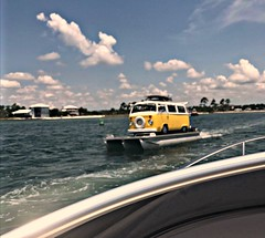Boating  VW style (Dave* Seven One) Tags: bustoon pontoonboat vw volkswagen type2 bus baywindow transporter unique cool funny lol