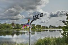 Noma Restaurant Sign (Bri_J) Tags: copenhagen denmark københavn danmark city hdr nikon d7500 noma restaurant sign lake clouds sky reflection