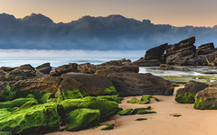 Mossy Green Sunrise Seascape (Merrillie) Tags: daybreak moss sunrise cloudy australia green nsw centralcoast clouds sea newsouthwales rocks earlymorning morning water landscape ocean nature sky waterscape coastal seascape outdoors killcarebeach dawn coast killcare waves
