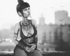 The sky above the rooftops (Neva Valon) Tags: taox lyrium sl secondlife rooftop pose poses tattoo tattoos ink monochrome monochromes monochromatic avatar virtual
