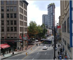 Cordova Street Woodward's View Van18i05 LG (CanadaGood) Tags: canada bc britishcolumbia vancouver downtown gastown building architecture trolley bus tree sign harbourcentre woodwards canadagood 2018 thisdecade color colour cameraphone
