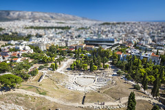 20180918_F0001: The real Theatre of Dionysus (wfxue) Tags: athens greece acropolis theatreofdionysus theatre ancient building city hill unescoworldheritagesite urban houses homes buildings roofs roads aerial tiltshift diorama cityscape
