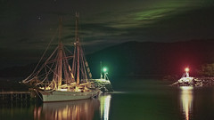 Anna Rogde and Aurora Borealis (Willie Jarl Nilsen) Tags: ship sailingship boats light auroraborealis northernlight norway senja
