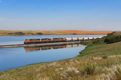 Charlie's Lake reflection (Moffat Road) Tags: dakotamissourivalleywestern dmvw cowl emd sd50f 5408 wayfreight maxturn freighttrain reflection charlie'slake garrison northdakota railroad locomotive nd
