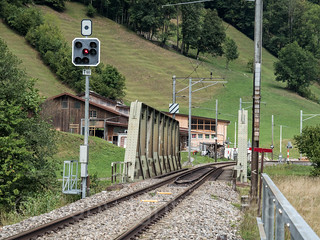 LIN360 SBB Railroad Bridge over the Linth River, Diesbach, Canton of Glarus, Switzerland